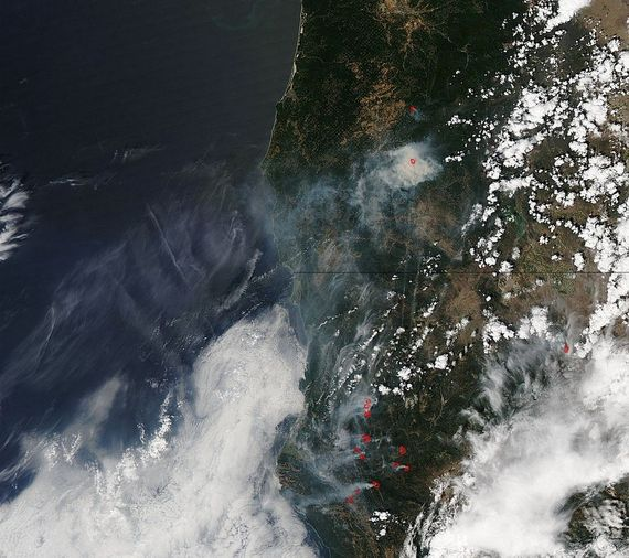 Photo: A NASA satellite captured this image of smoke from just one of the fires that burned earlier this year in California, this one near the San Bernardino National Forest.